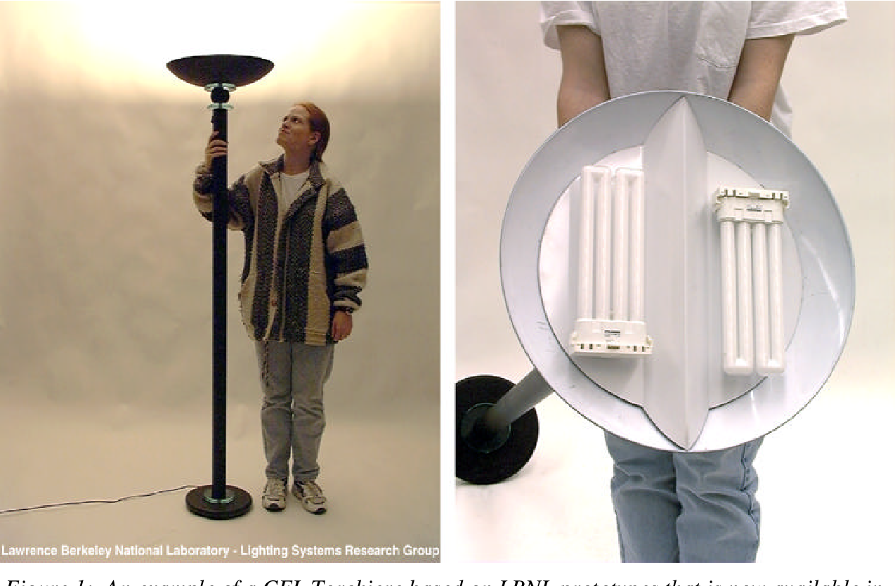 Figure 1: An example of a CFL Torchiere based on LBNL prototypes that is now available in the marketplace. The luminaires are similar in look to halogen torchieres, but they use two fluorescent lamps in a white reflector dish (as seen on right).