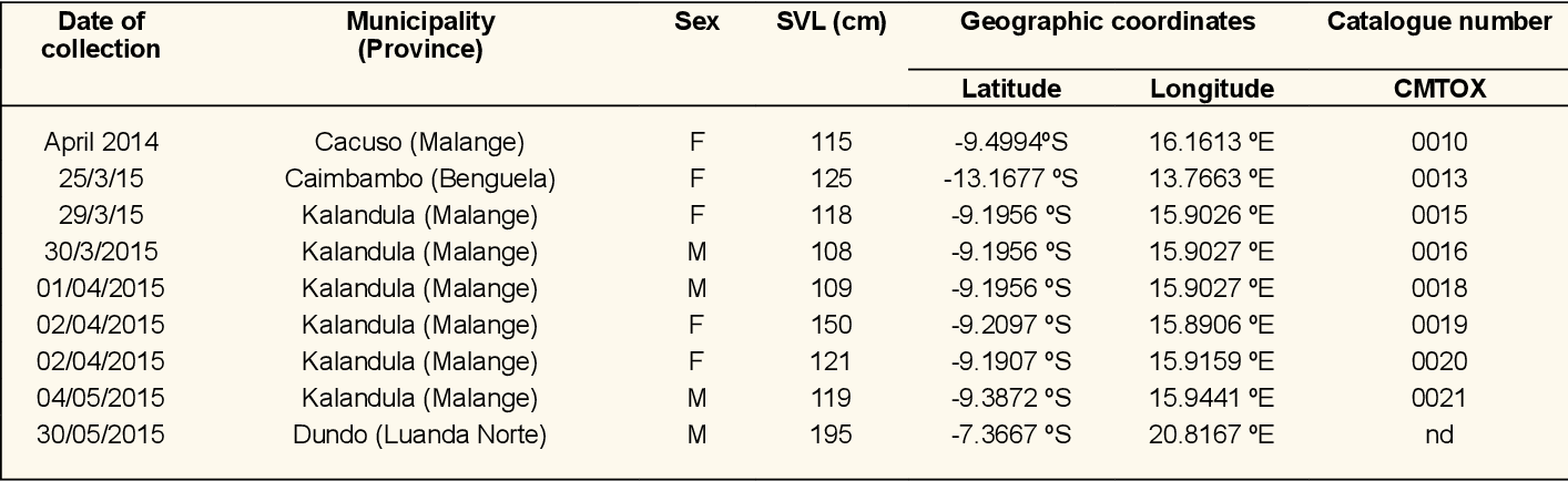Table 1. Dates of collection, location, geographical coordinates, size and sex of B. gabonica collected in Angola. F = Female; M = Male; SVL = Snout-vent length; nd = not deposited