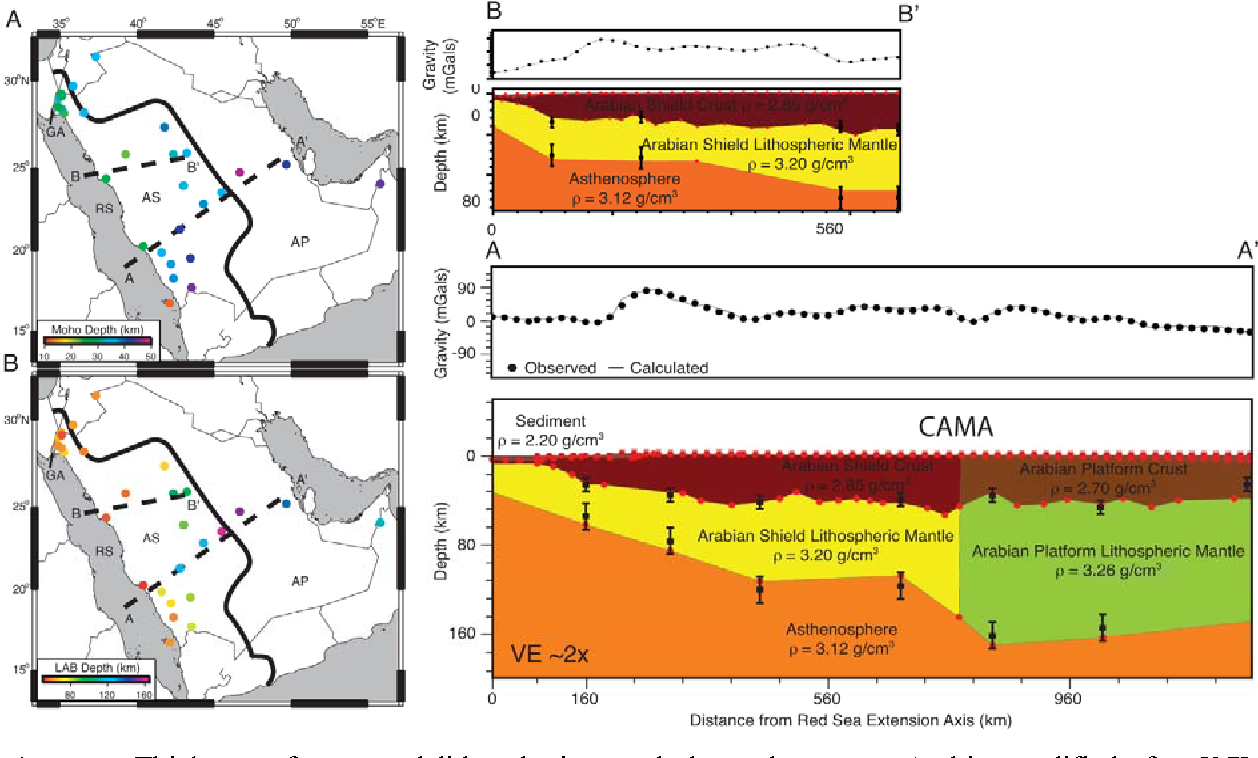 figure 3 from do variations in arabian plate lithospheric structure Arabian Tectonic Plate