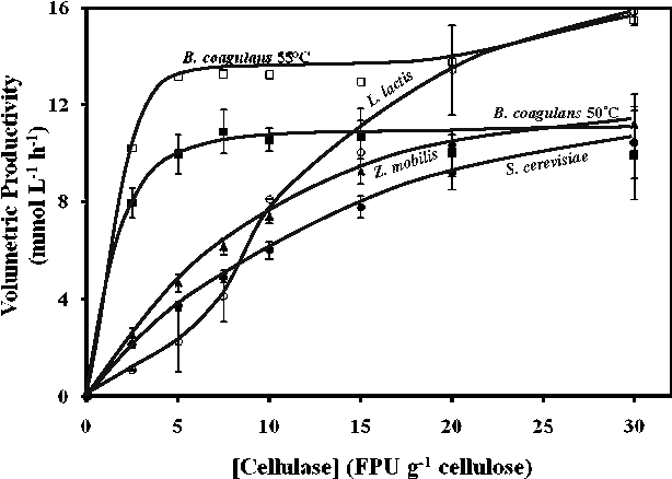 Fig. 2 Maximum volumetric productivity of SSF of 40 g L−1 cellulose (Solka Floc) by B. coagulans strain 36D1 (50 or 55 °C; pH 5.0), L. lactis (40 °C; pH 5.5), S. cerevisiae (35 °C; pH 5.5), and Z. mobilis (35 °C; pH 5.0) as a function of fungal cellulase concentration. Volumetric productivity was calculated as lactate produced by B. coagulans strain 36D1 and L. lactis and as ethanol produced by S. cerevisiae and Z. mobilis. See text for other details