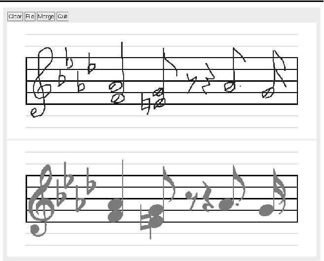 An online handwritten music score recognition system