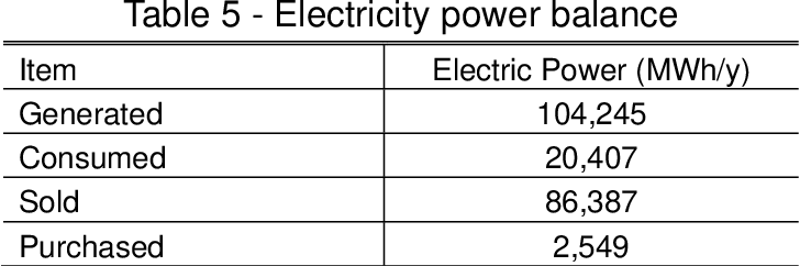 Table 5 - Electricity power balance
